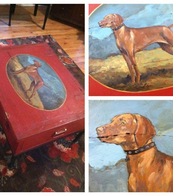 Coffee Table with Dog Portrait